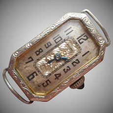1920s 19K White Gold Filled Bulova Ladies Watch Vintage Runs Monogram F.E.Y.