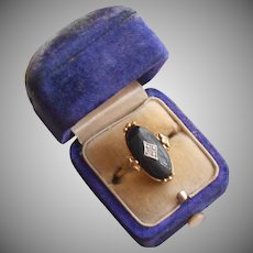 Vintage Ring Faux Onyx Faux Diamond 1980s Avon 7 to 7.5