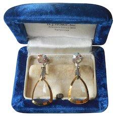 ca 1960 Crystal Dangle Drop Earrings Vintage AB Screw Back