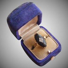 Vintage Ring Faux Onyx Faux Diamond 1980s Avon 6 to 6.5