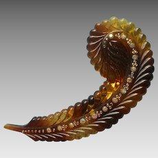 1950s Hair Clip Vintage Feather Faux Tortoiseshell Plastic AB Rhinestones