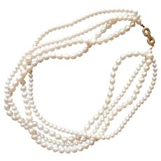 1980s Richelieu Faux Pearls 4 Strand Vintage Round and Potato