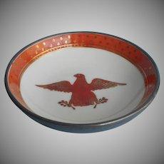 Porcelain Bowl Pewter Encased Vintage Japan Eagle Rust Gold