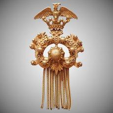 Florenza Pin Vintage 1960s Tassel Eagle Antiqued Gold Tone