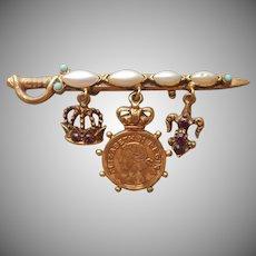 Rare Florenza Sword Pin Vintage Dangle Queen Elizabeth Coin