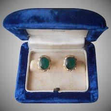 Green Agate Gold Filled Vintage Earrings Screw Back