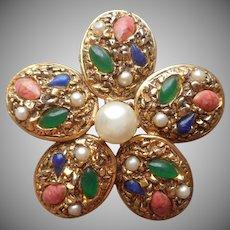 Florenza Pin 5 Petal Flower Faux Gems Antiqued Gold Tone