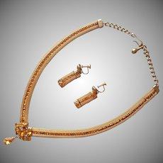 Topaz Colored Rhinestones Mesh Necklace Earrings Vintage 1950s