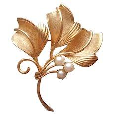 Cultured Pearls Gold Filled Pin Vintage Leaf Leaves