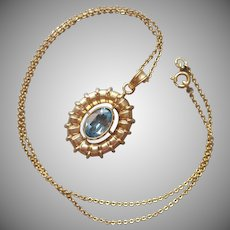 Gold Filled Faux Blue Topaz Vintage European Necklace Amerikaner