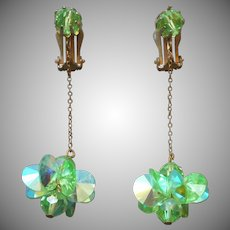 1960s Earrings Vintage Dangle Green AB Crystal Beads Chain