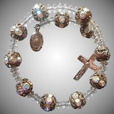 Sterling Religious Medal Crucifix Vintage Silver Crystal Filigree Beads Bracelet