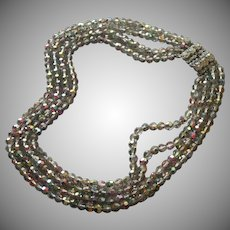 Smoke Color AB Crystal Beads Necklace 1950s Vintage 4 Strand