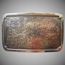 Belt Buckle Handsome Engraving Vintage Faux Silver Heavy