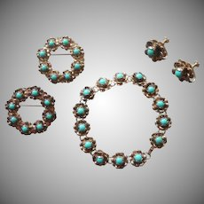 Sterling Turquoise Vintage Mexico Bracelet Pair Pins Earrings Tiny Flowers