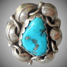 Navajo Ellen Myrtle Ring Vintage Sterling Silver Turquoise 8.25