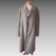 1950s Irish Aran Tweed Balmacaan Coat Vintage Mens L Overcoat
