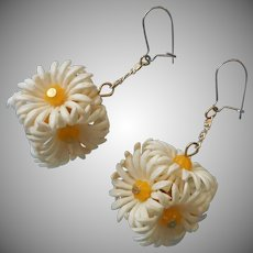 1960s Earrings Dangle Pierced Plastic Daisies Clusters Chains