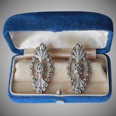 Pierced Marcasite Earrings Vintage 1980s to 1990s Art Deco Revival
