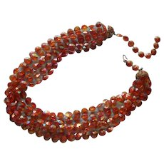 Plastic Vintage Necklace Amber Colored AB Fused Beads 6 Strand