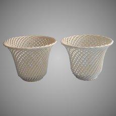 Pair Flower Pots Portugal Pottery Vintage Basketweave Cream