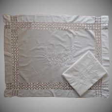 Antique Shams Layover Pair Monogram A T White Work Hand Embroidery