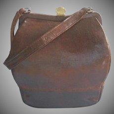 Brown Lizard Leather Vintage Sterling Brand Handbag Purse