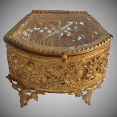 Tiny Jewel Casket Antique Ornate Metal Ormolu Glass Ring Box