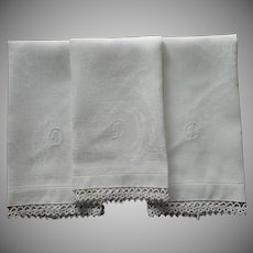 Monogram D Antique Linen Damask Towels Tatted Lace Trim 3