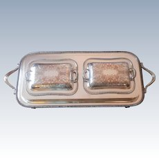 6 Piece Set Tray Warmer 2 Covered Serving Dishes Silver Plated On Copper Vintage