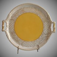 Large Tray Vintage China Handles Round Yellow w Lacy Gold