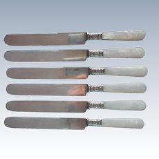 Mother Of Pearl Handles Dinner Knives Sterlig Silver Ferrules Antique Set 6