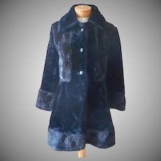 Early 70s Black Faux Fur Coat Fake Seal Size 6