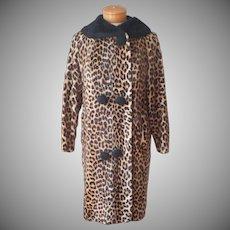 Faux Leopard Fur Coat Vintage Circa 1960 Fake Fur