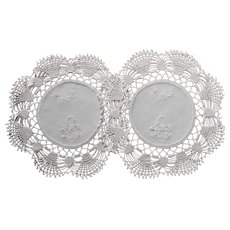 Lamp Doilies Vanity Vintage Pink Embroidery Crocheted Lace Linen
