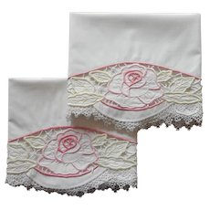 Pillowcases Pink Roses Cutwork Embroidery Tatted Lace Vintage 1920s