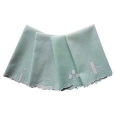 1920s Fingertip Guest Towels Set Vintage Green Cotton Hand Embroidery White Applique
