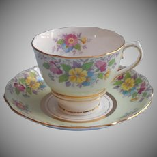 1930s Colcough Cup Saucer Pale Green Floral Vintage Bone China English