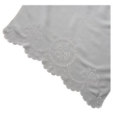 Antique Cutwork Towel Hand Embroidered Linen White On White ca 1915