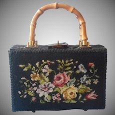 Vintage Purse Wicker Needlepoint Bamboo Handles Black Pink Magid