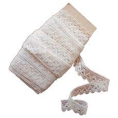 Vintage Lace Trim Cream Colored Cotton Several Short Lengths