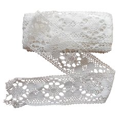 Antique Wide Lace Insertion Trim Yardage