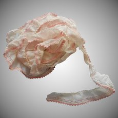 Vintage Trim Yardage Pink Edged Ruffling