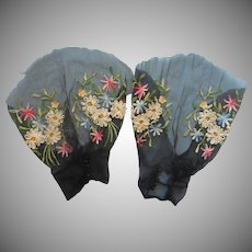 1930s Sleeves Fragments Gorgeous Tambour Embroidery Lace Flowers Vintage
