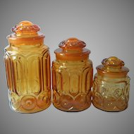 Moon And Star Amber Glass 3 Canisters L.E. Smith Vintage