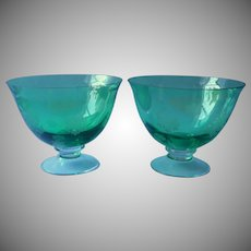 Pair Green Glass Footed Bowl Compote Etched Snowflakes Holiday FTD