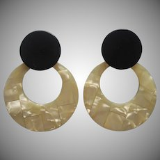 Big 1980s Pierced Earrings Doorknocker Lucite and Plastic