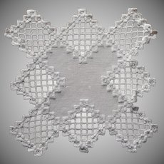 1920s Hardanger Doily Vintage Hand Embroidery Square All White