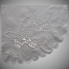 Antique Centerpiece Doily Linen Cutwork Hand Embroidery Birds