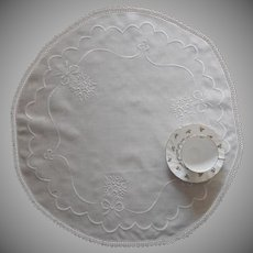Antique Centerpiece Doily White Work Hand Embroidery Crocheted Lace